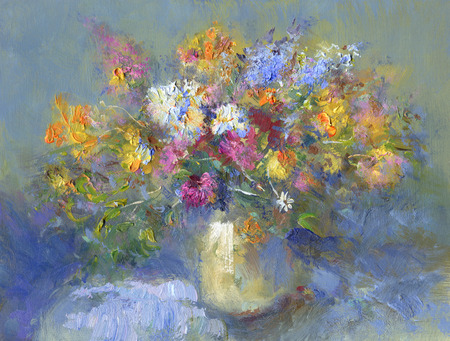 painted vase of summer flowers - oil paints on acrylics