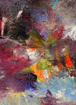 opaque: abstract multicolor layer artwork, opaque and transparent oil paint textures on canvas Stock Photo