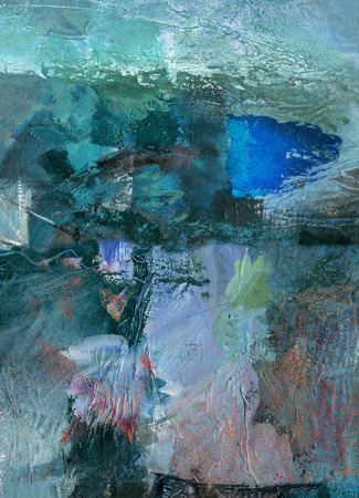 abstract multicolor layer artwork, opaque and transparent oil paint textures on canvas 免版税图像