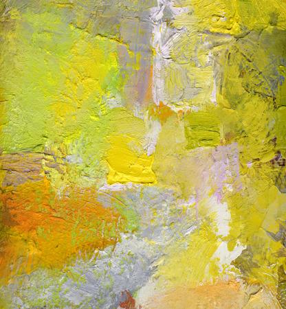 abstracte multicolor laag kunstwerk, dekkende en transparante olieverf texturen op doek