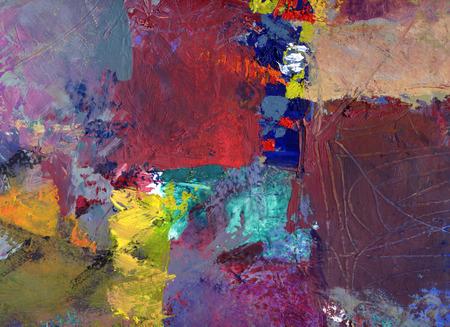 abstract veelkleurig laag kunstwerk, dekkende en transparante olieverf textures op doek