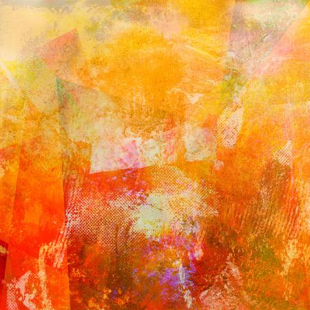 abstracte geweven schilderij in oranje en rode tinten