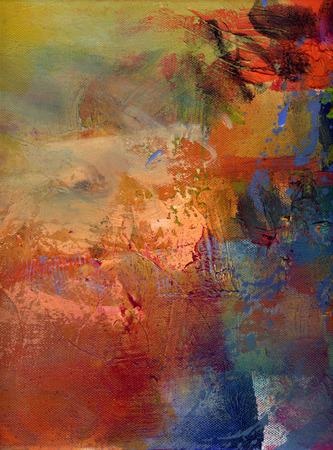 추상 여러 가지 빛깔의 계층 작품, 캔버스에 불투명하고 투명한 오일 페인트 텍스처