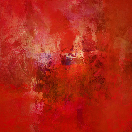 artwork painting: textured red shades and shapes on canvas structure