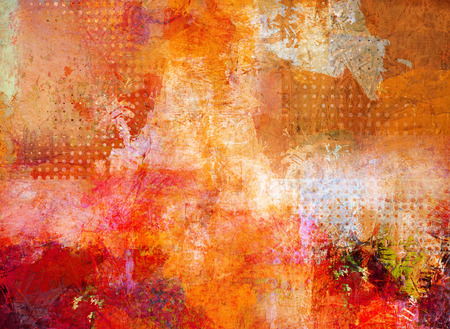 brushstrokes: abstract multicolor layer artwork, opaque and transparent oil paint textures on canvas Stock Photo
