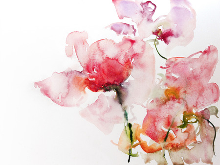 watercolor flowers study on white paper