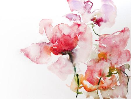 waterverfbloemen studie op wit papier