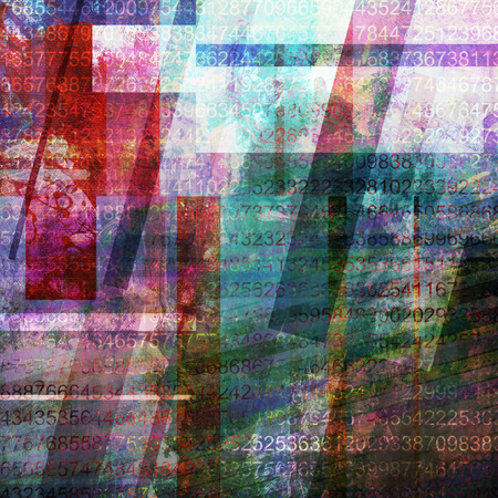 mixed media: abstract mixed media with added numbers Stock Photo