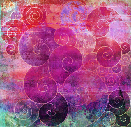 mixed media: different spirals shapes on textured mixed media Stock Photo