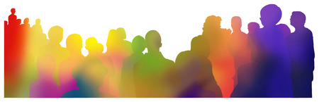 colorful gradient silhouettes of an audience