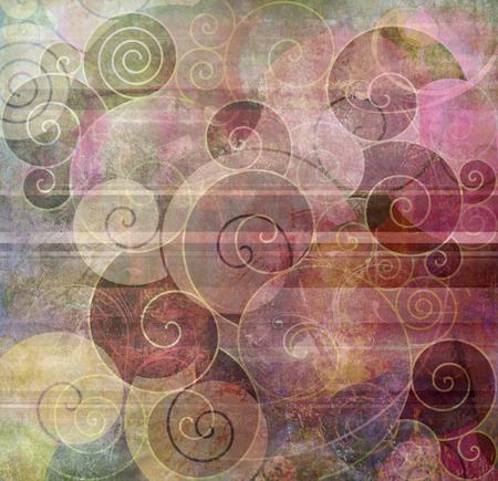 swirl backgrounds: different spirals shapes on textured mixed media Stock Photo