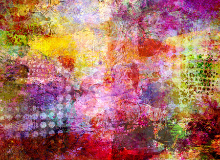 grunge textures: abstract multicolor paint and grid pattern mixed media