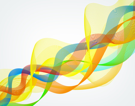 oscillation: abstract colorful wavy lines on white background Stock Photo