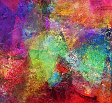 abstract multicolor layer kunstwerk, dekkende en transparante olieverf en acryl op doek texturen, veelhoek patroon laag toegevoegd Stockfoto