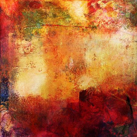 多色の抽象レイヤーのアートワーク、キャンバスに不透明部分と透明のオイル ペイントの模様