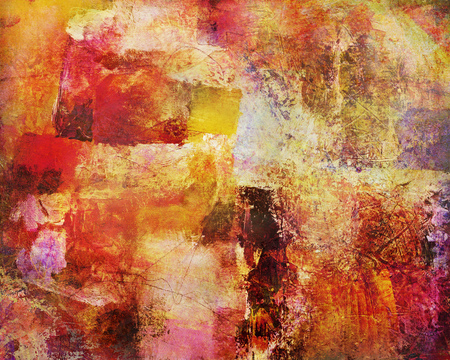 mixed media: colorful autumn tones mixed media in different shades and textures on canvas Stock Photo