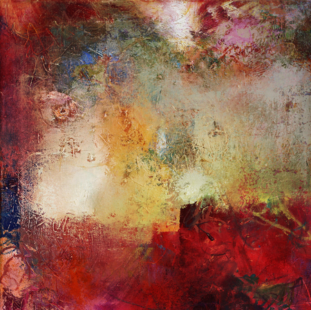oil paint: abstract multicolor layer artwork, opaque and transparent oil paint textures on canvas Stock Photo