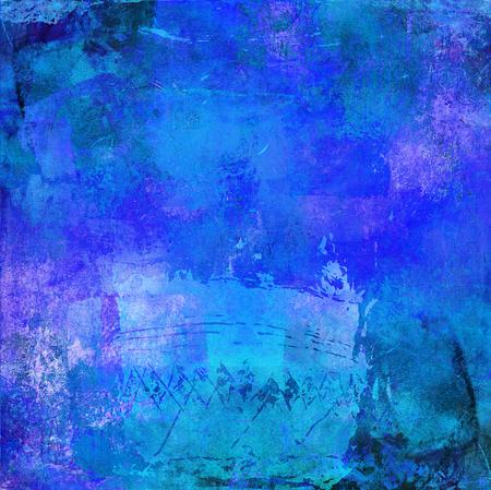 textures: Mischtechnik mit blauen strukturierten Schattierungen und Formen auf Leinwand Struktur