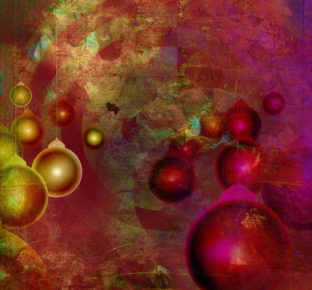 boules: christmas card design with christmas boules on textured background
