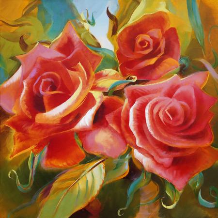 cuadros abstractos: rosas rojas con motivos mano aceite pintado sobre lienzo Foto de archivo