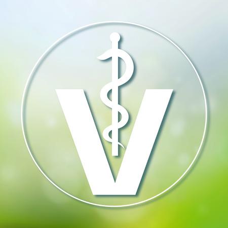 forme et sante: vétérinaire symbole médical illustration, serpent caducée avec le bâton sur fond flou