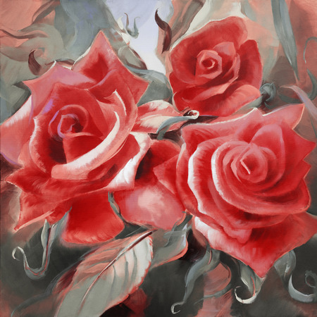 painting art: red roses motif hand painted oil on canvas