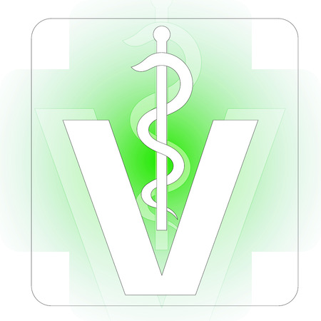 caduceus snake with stick: veterinary medical symbol illustration, caduceus snake with stick