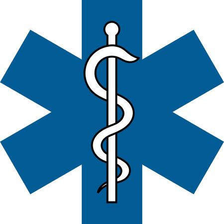 veterinaire medische symbool illustratie, caduceus slang met stok