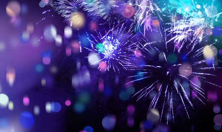 a background: stars and lights pattern of bright sparkling colorful fireworks with colorful stars, confetti and circle shapes added Stock Photo