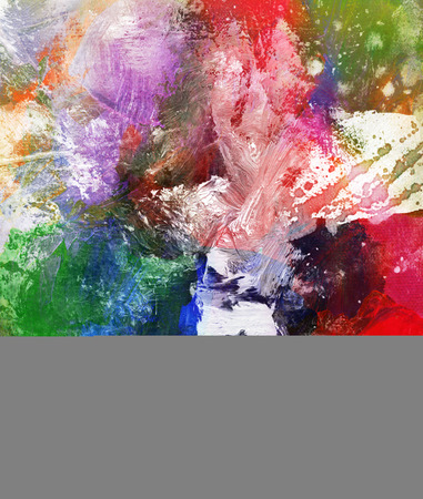abstract colorful painting with blots and splatter textures