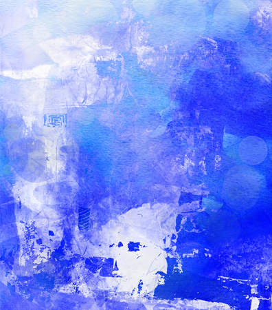 opaque: abstract layer artwork, opaque and transparent blue paint textures on paper structure Stock Photo