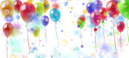 fete: shower of confetti and colorful balloons on white background