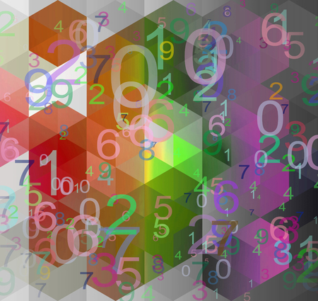 gray texture background: numbers texture on a geometric red, green and gray background