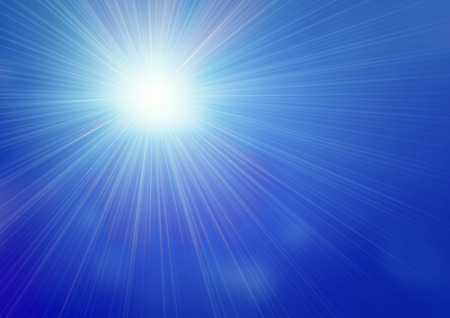 sunbeam background: illustrated streaming sunlight on blue sky with bokeh lights pattern Stock Photo