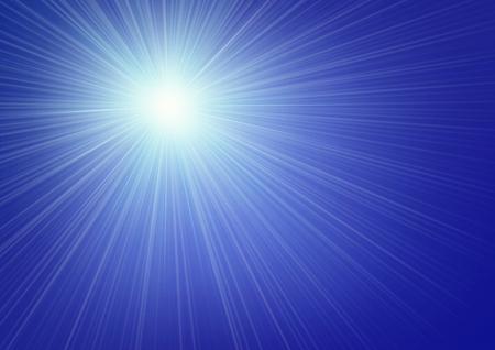 sunbeam background: illustrated streaming sunlight on blue sky background