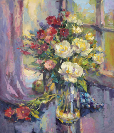 canvas painting: painted still life with peonies and grapes, oil on canvas Stock Photo