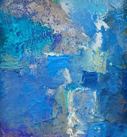 Oeuvre abstraite de couche de couleur bleue, textures de peinture à l'huile opaques et transparentes sur toile