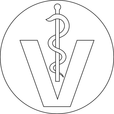 caduceus veterinary symbol: veterinary medical symbol illustration, caduceus snake with stick