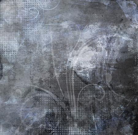 dark gray: vintage swirls decoration texture on dark gray grunge Stock Photo