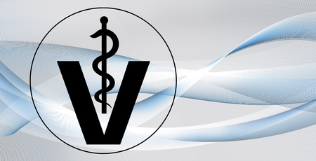 veterinary medical symbol illustration, caduceus snake with stick on wavy motion lines texture