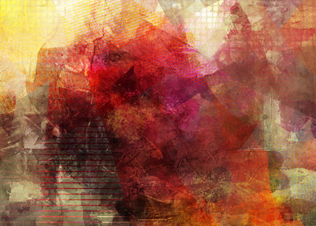 pintura abstracta: Resumen obras de técnica mixta contemporánea decorativa
