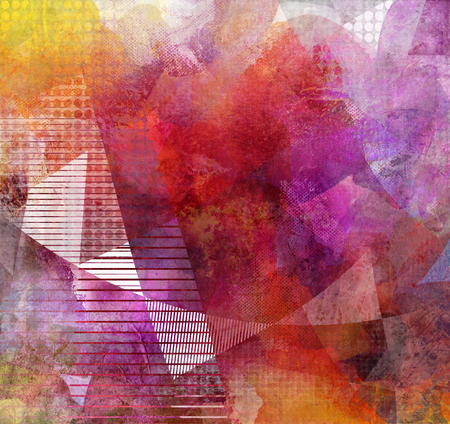 bright paintings: abstract decorative contemporary mixed media artwork Stock Photo