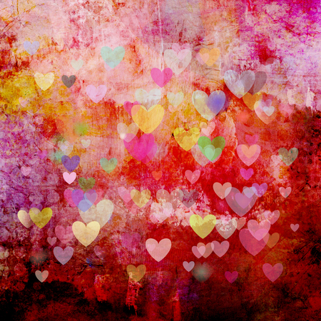 colorful heart: red textured christmas background with different colorful heart shapes