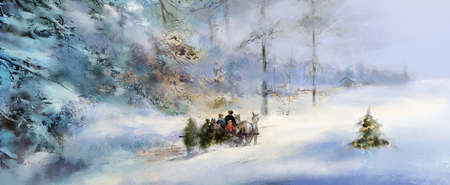 snow forest: illustrated joyful anticipation of Advent and Christmas, horses pulling family on sleigh carrying Christmas tree through deeply snow covered winter forest