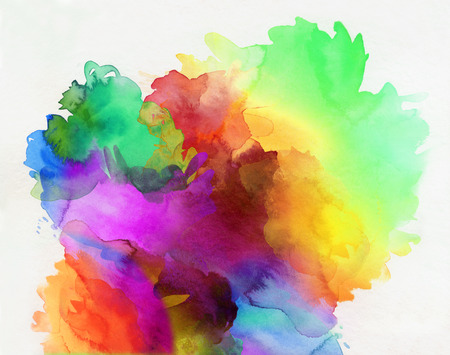 明るい虹色の水彩絵の具と白い背景の結合異なるカラフルなテクスチャ