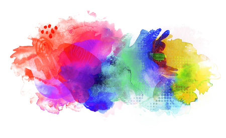 bright rainbow colored watercolor paints and different colorful textures combined on white background