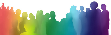 colorful rainbow gradient silhouettes of young and old spectators on white background