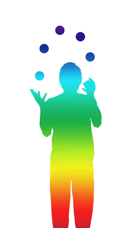 silhouette of a juggler in shifting rainbow colors performs with blue ballls, sport meditation lifestyle concept illustration Stock Photo