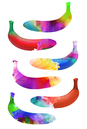 awry: set of colorful bananas isolated on white background in different textures and tones