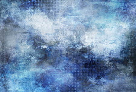 mixed media with blue textured shades and shapes on canvas structure